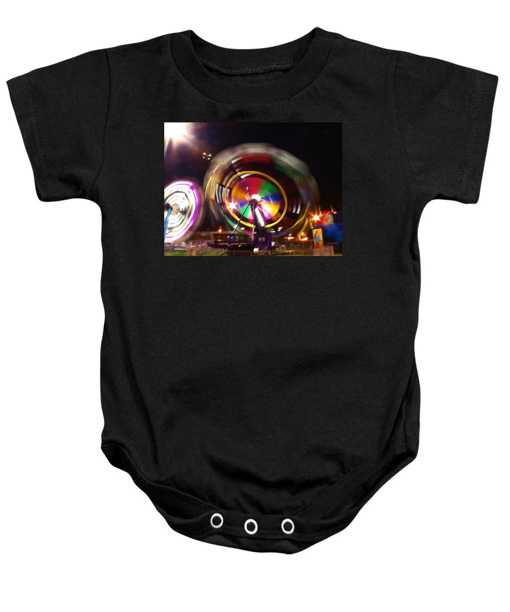 Ferris Wheels Baby Onesie featuring the photograph Ferris Wheels Go Round by Kym Backland