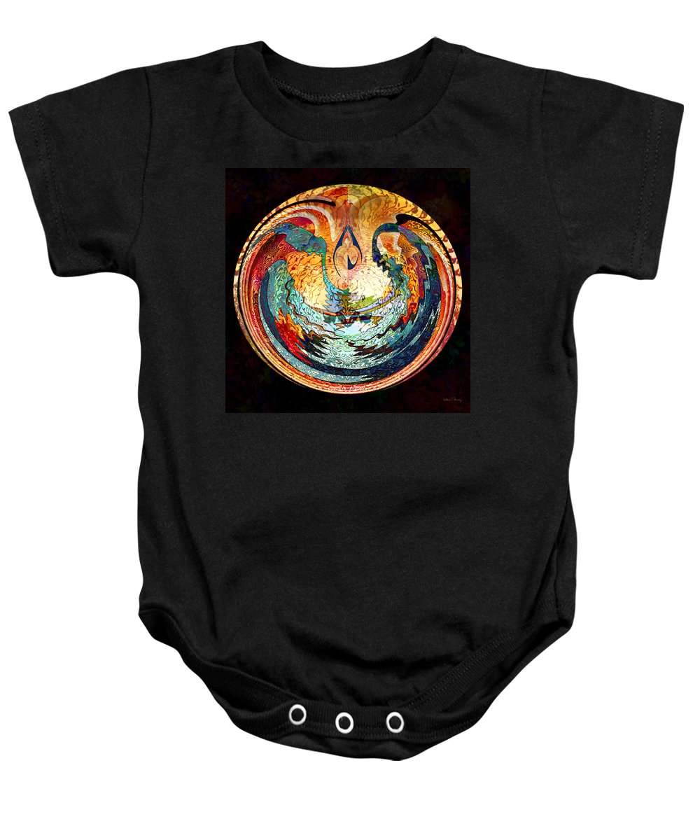 Fire Baby Onesie featuring the digital art Fire And Water by Barbara Berney