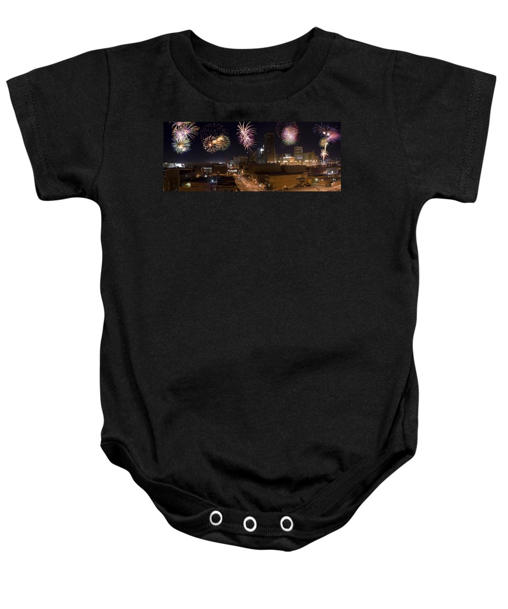 Architecture Baby Onesie featuring the photograph Fireworks Over The City by Ricky Barnard