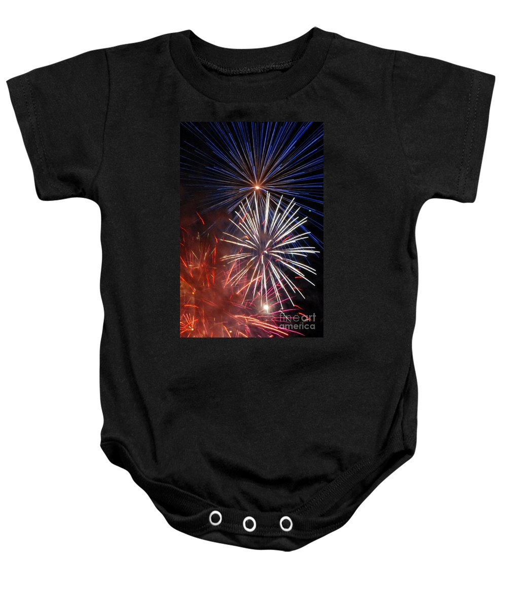 Fireworks Baby Onesie featuring the photograph Fireworks Rectangle by Ronald Grogan