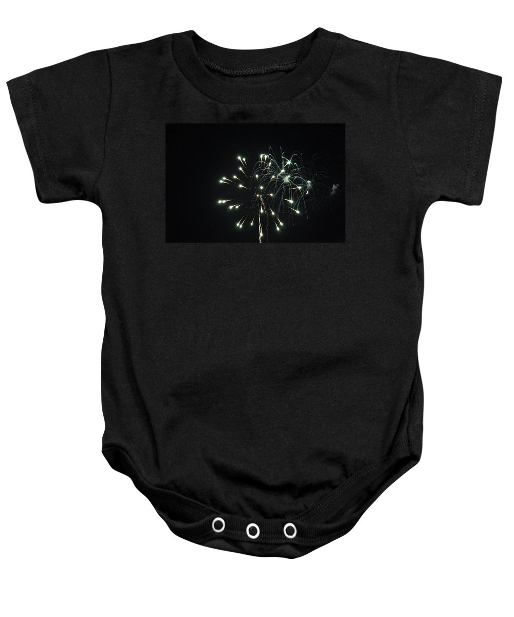 Fireworks Baby Onesie featuring the photograph Fireworks With Moon II Fm2p by Jim Brage