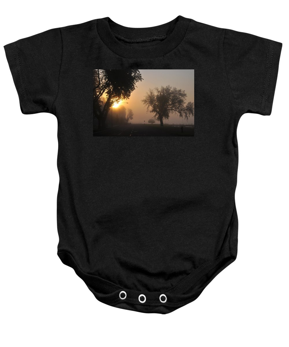 Street Baby Onesie featuring the photograph Foggy Morn Street by Tim Nyberg