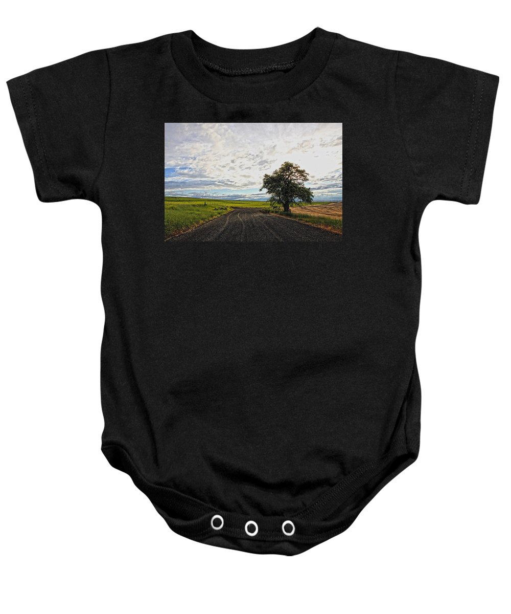 Trees Baby Onesie featuring the photograph Follow The Clouds by Athena Mckinzie