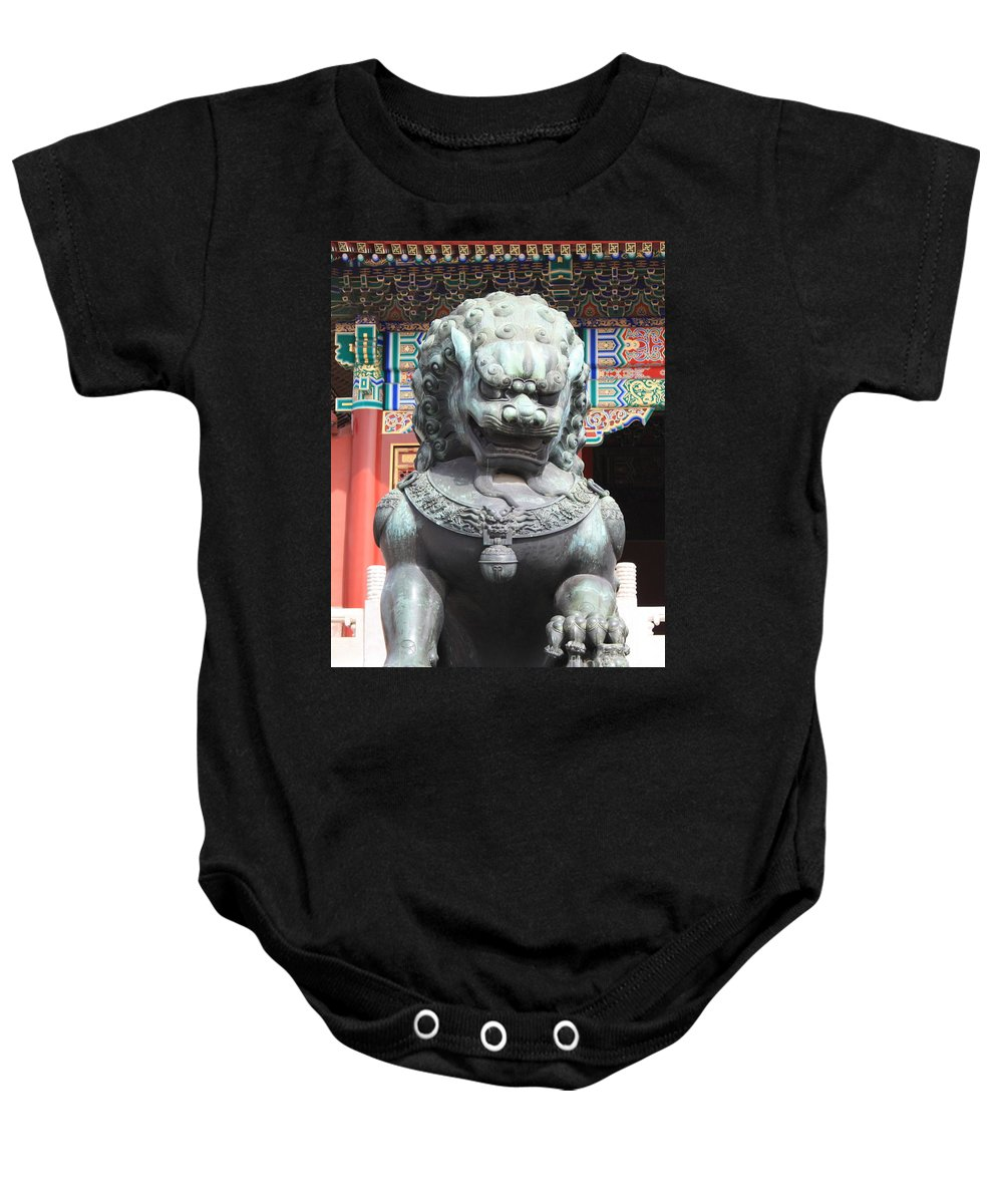Foo Dog Baby Onesie featuring the photograph Forbidden City Lion Guardian by Carol Groenen