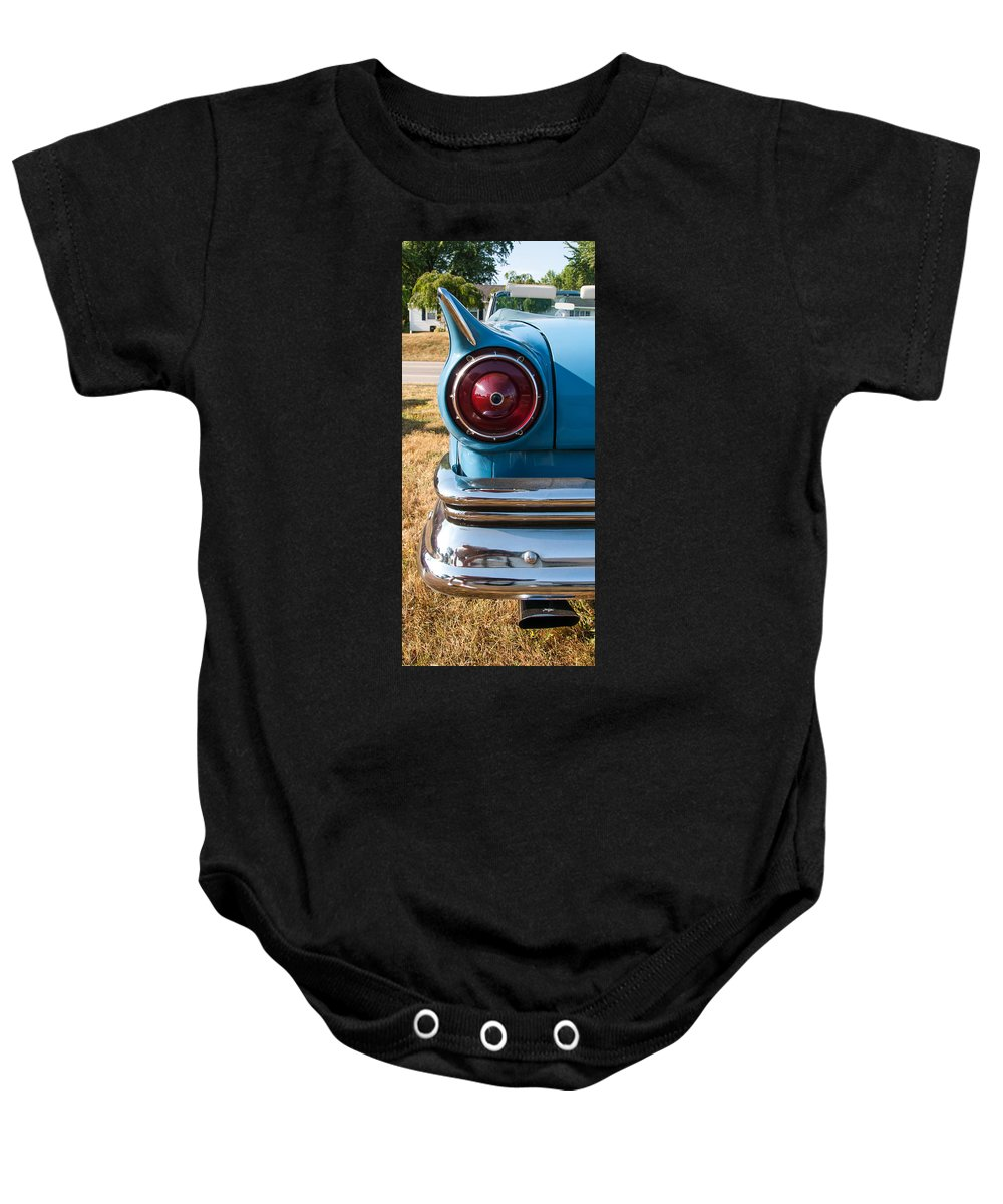 1957 Ford Baby Onesie featuring the photograph Ford Tail by Guy Whiteley