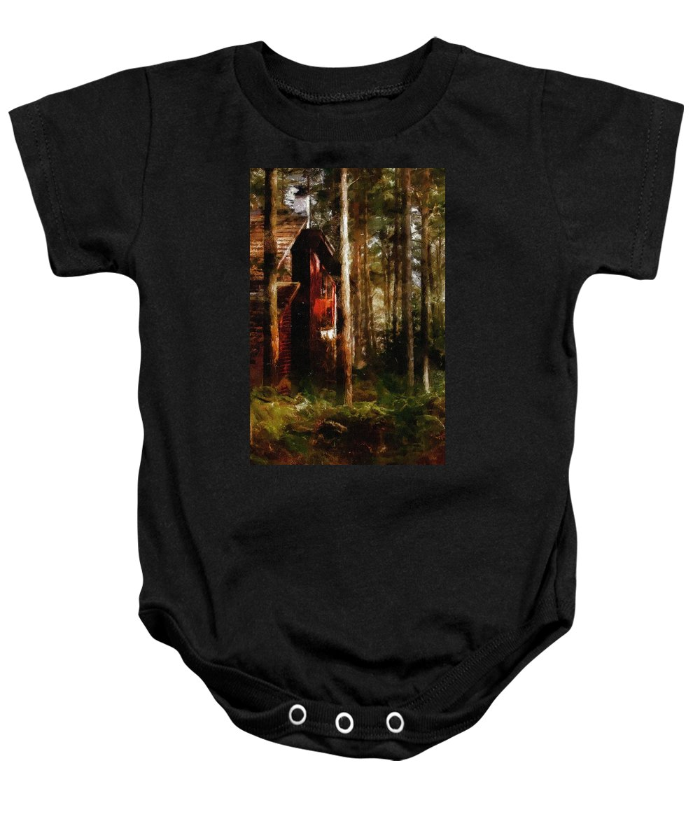 Impressionism Baby Onesie featuring the painting Forest In Fall by Georgiana Romanovna