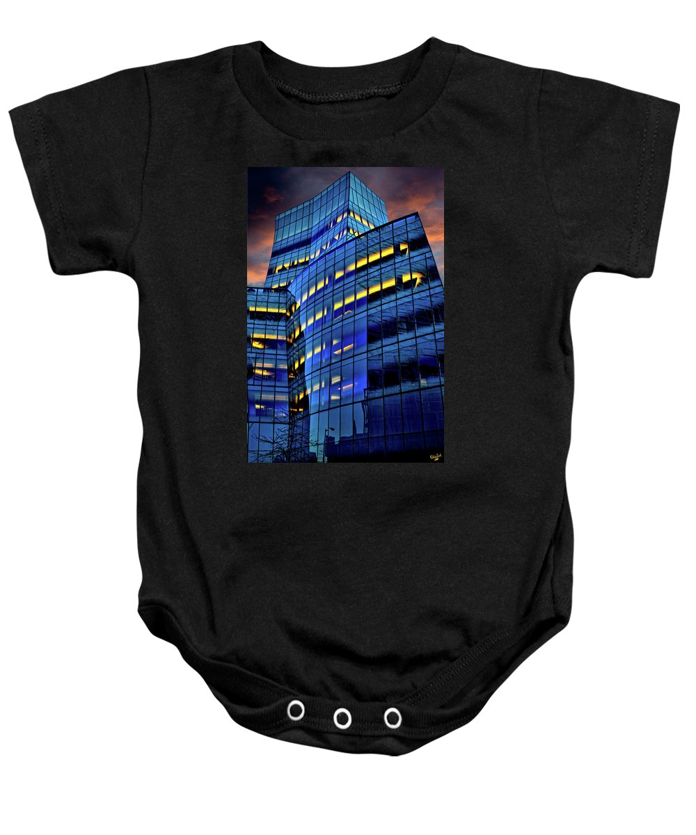 Gehry Baby Onesie featuring the photograph Frank Gehrys Iac Building by Chris Lord