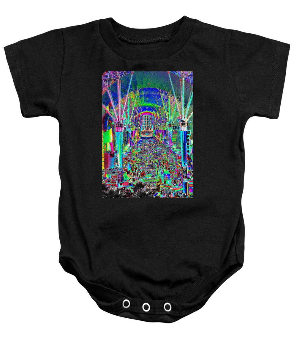 Art Baby Onesie featuring the painting Fremont Street Experience Nevada by David Lee Thompson
