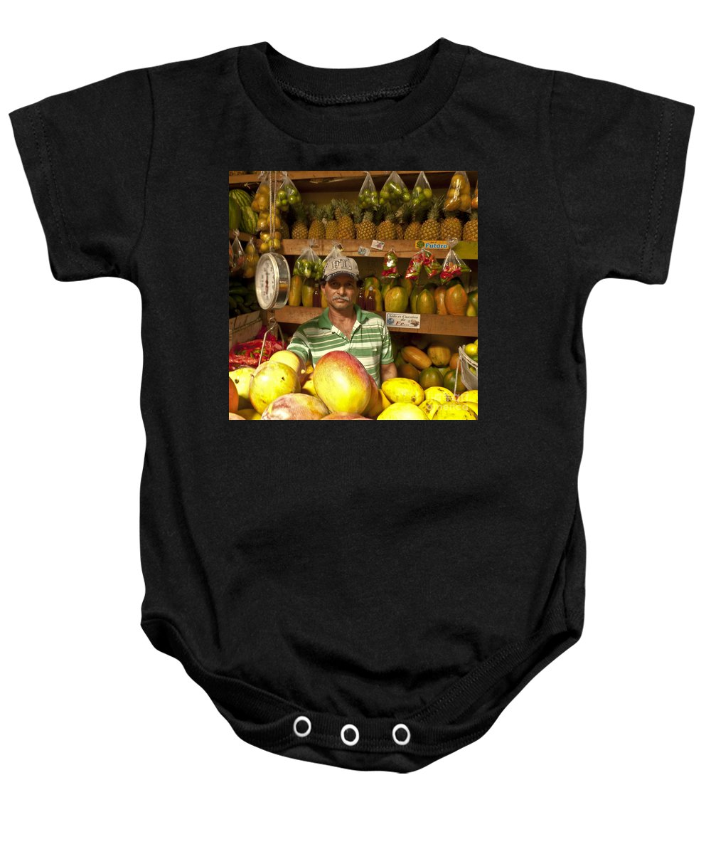 Fruit Baby Onesie featuring the photograph Fruit Market Stand by Heiko Koehrer-Wagner