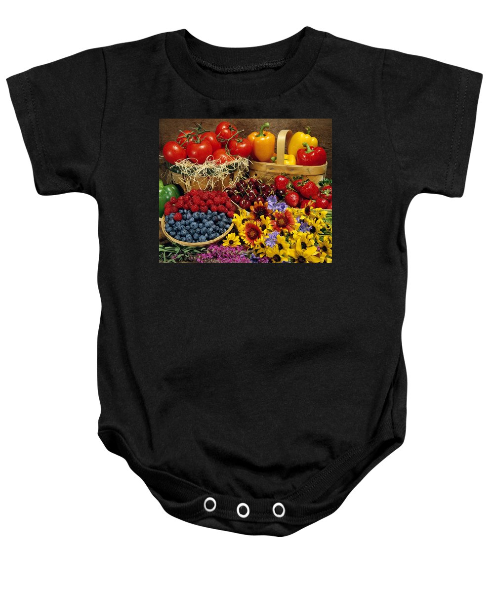 Color Baby Onesie featuring the photograph Fruits And Vegetables by David Chapman