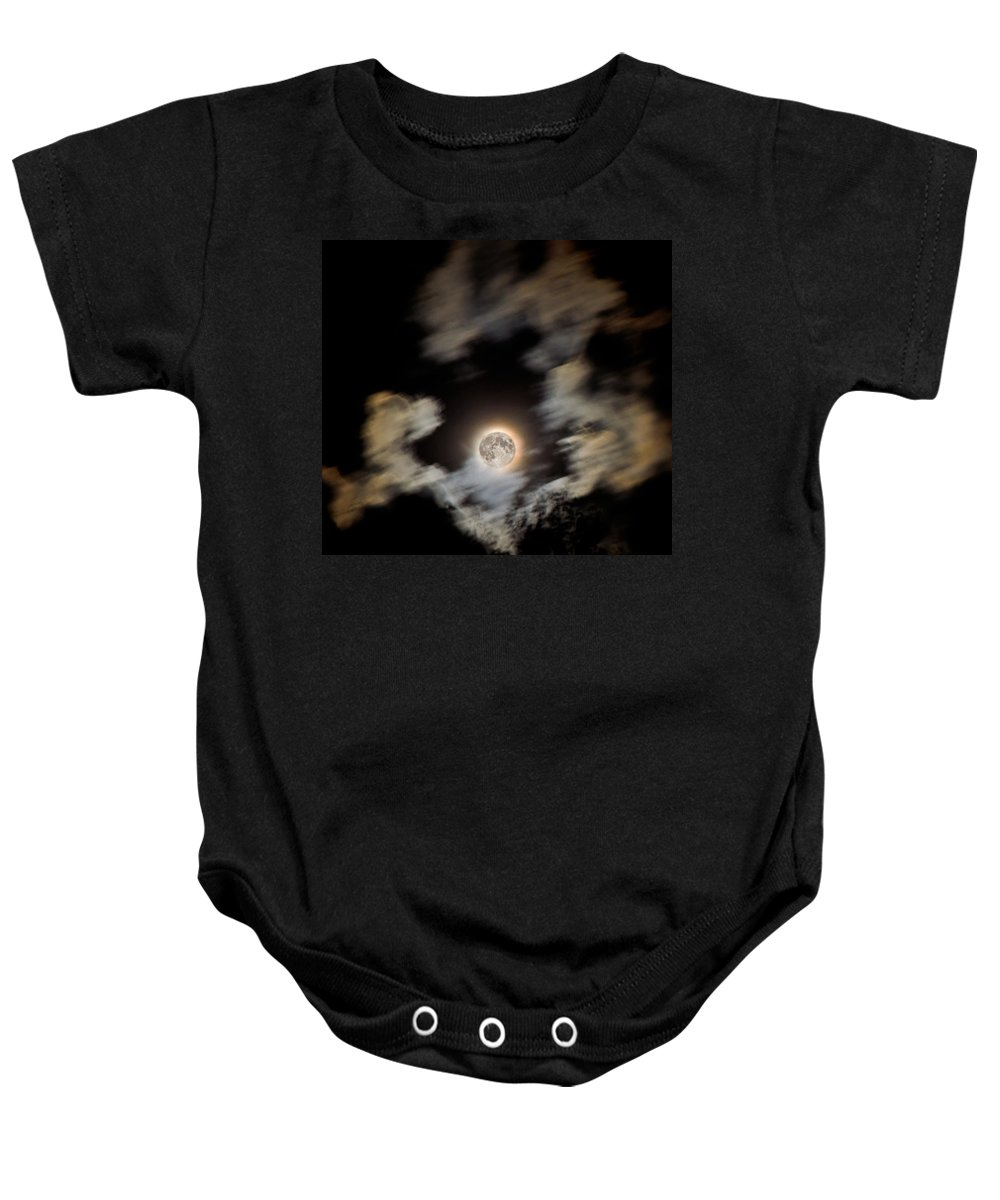 Moon Baby Onesie featuring the photograph Full Moon by Jeff Galbraith