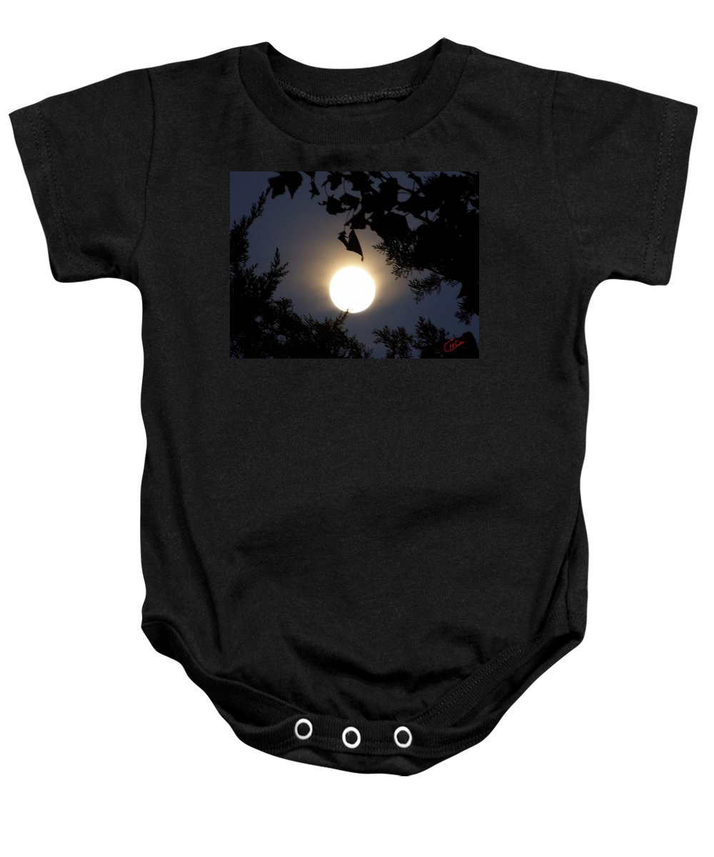 Colette Baby Onesie featuring the photograph Full Moon Late Night Spain by Colette V Hera Guggenheim