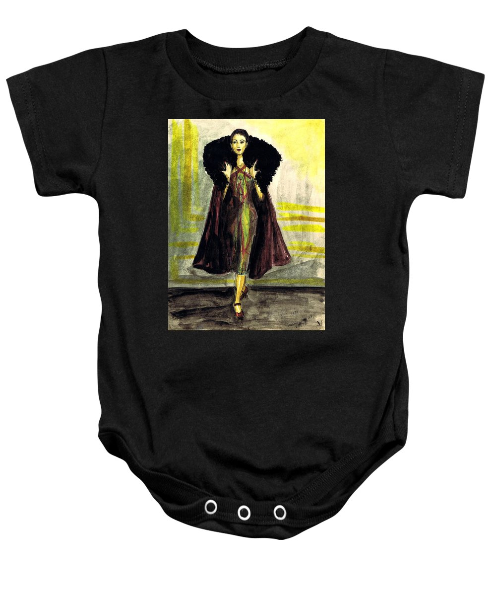 Nostalgia Baby Onesie featuring the drawing Fur Collar by Mel Thompson