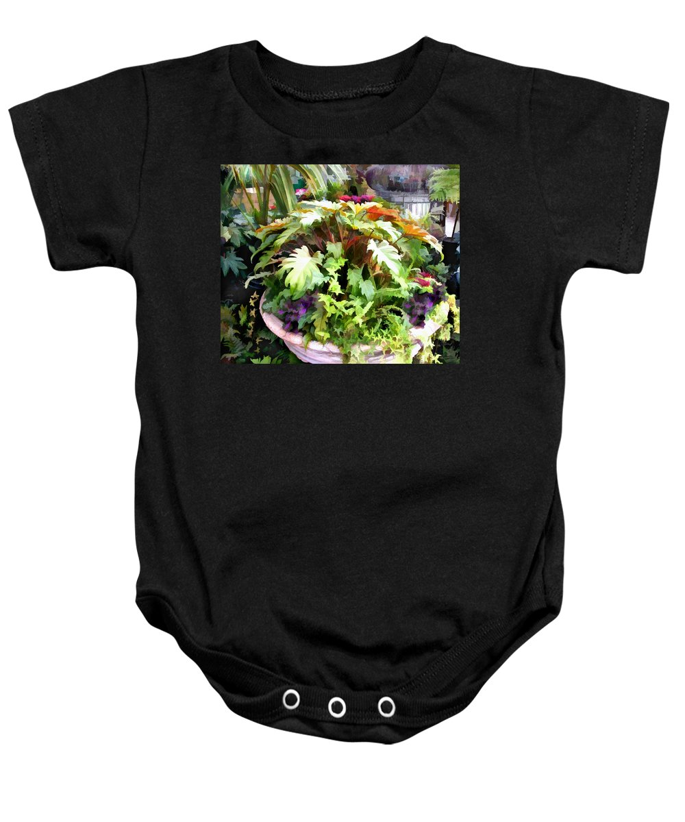Baby Onesie featuring the painting Garden Bowl Of Foliage by Elaine Plesser