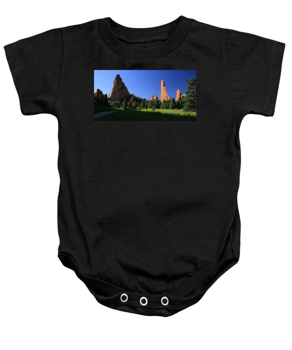 Garden Of The Gods Baby Onesie featuring the photograph Garden Of The Gods by Garry McMichael