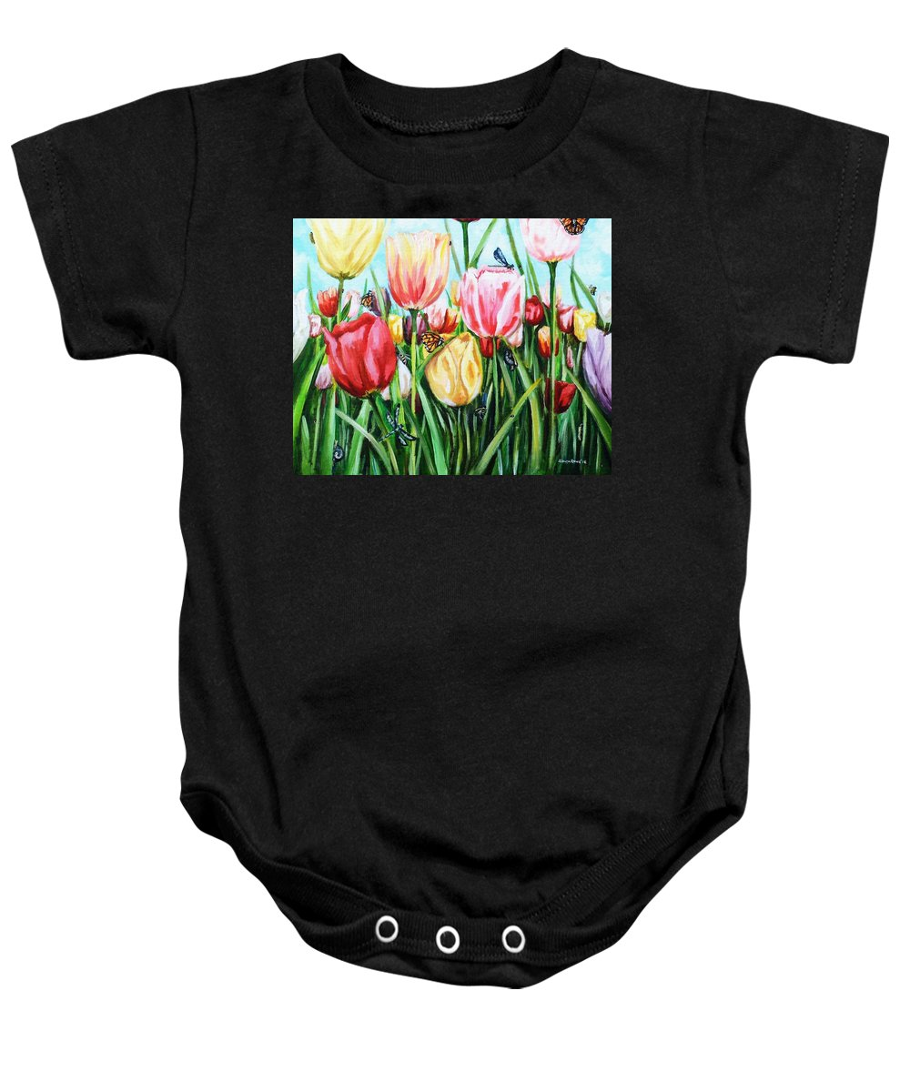 Spring Baby Onesie featuring the painting Garden Party by Shana Rowe Jackson