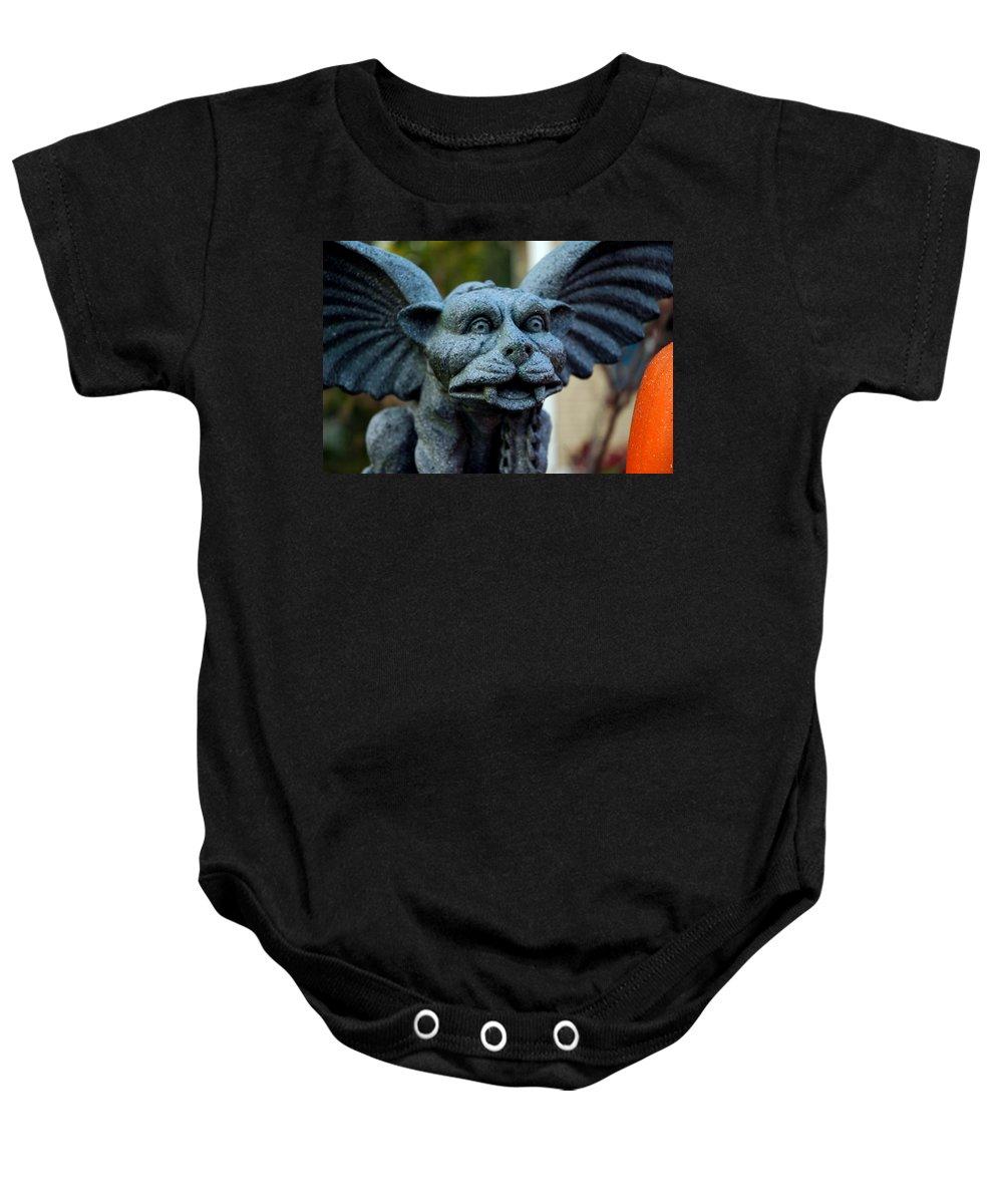 Usa Baby Onesie featuring the photograph Gargoyle by LeeAnn McLaneGoetz McLaneGoetzStudioLLCcom
