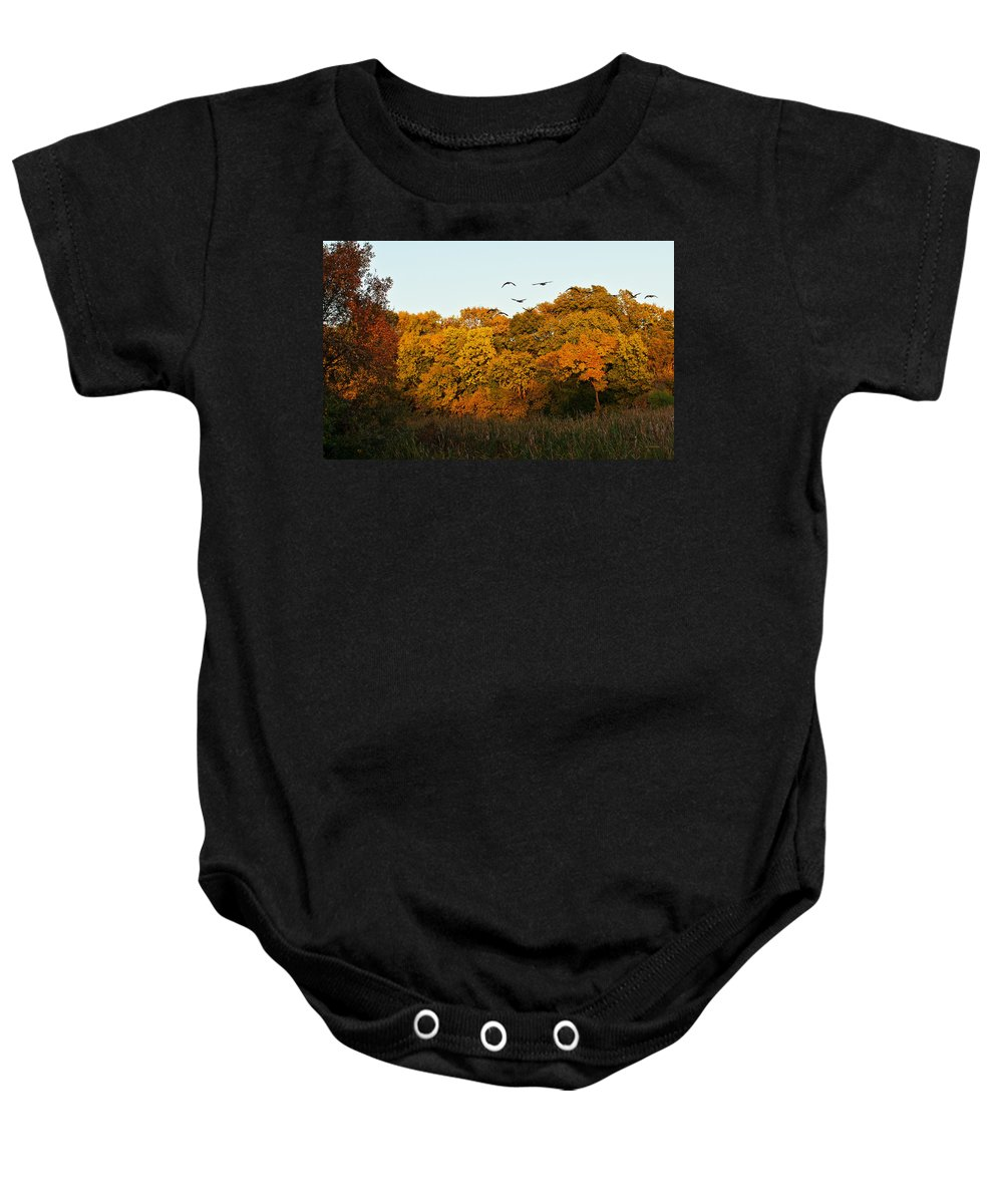Geese Baby Onesie featuring the photograph Geese Flight by Edward Peterson