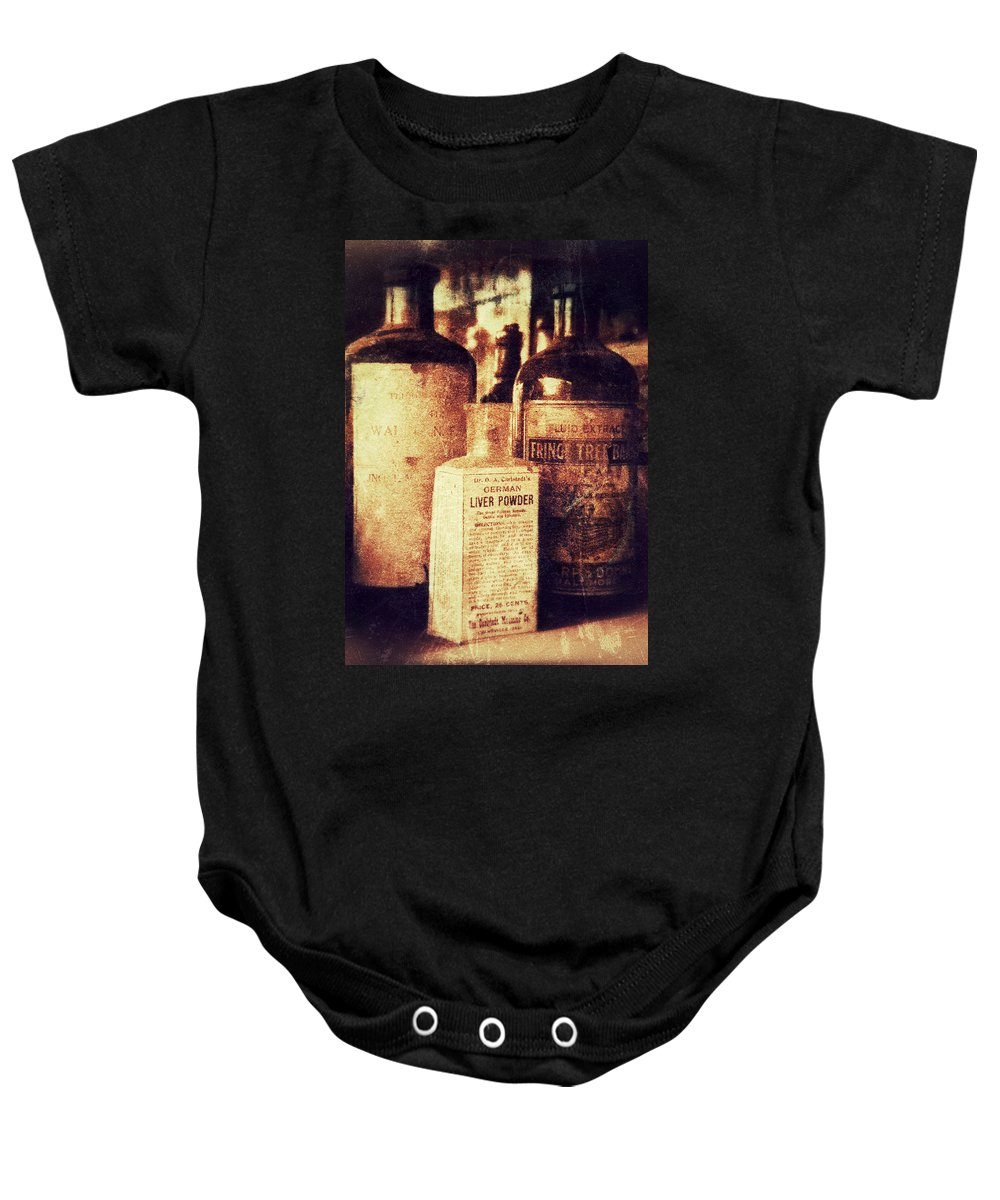 Antiques Baby Onesie featuring the photograph German Liver Powder by Garry McMichael