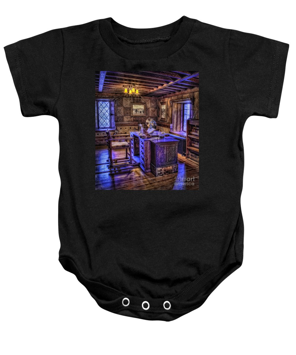 Castle Baby Onesie featuring the photograph Gillette Castle Office Hdr by Susan Candelario