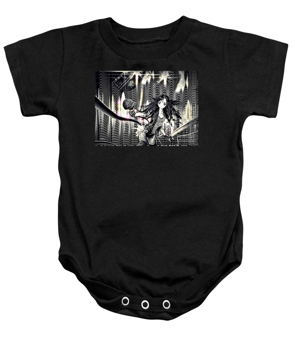 Go Dance Baby Onesie featuring the mixed media Go Dance by Mo T
