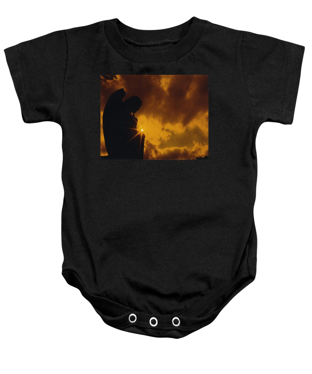 Silhouette Baby Onesie featuring the photograph Golden Light Silhouette by Gothicrow Images