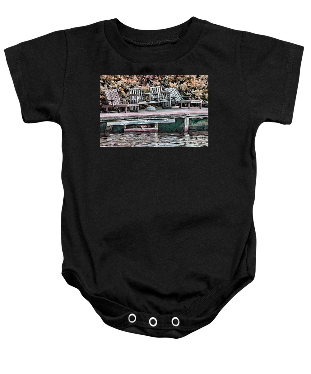 Lake Photographs Baby Onesie featuring the photograph Gone Fishing by Tom Prendergast