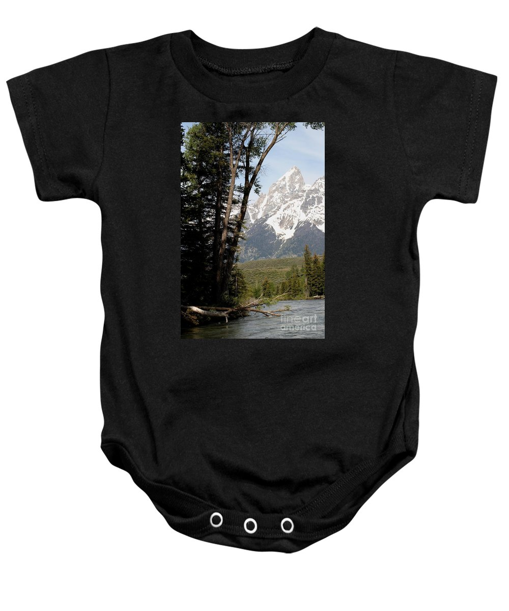 Grand Tetons Baby Onesie featuring the photograph Grand Tetons Vertical by Living Color Photography Lorraine Lynch