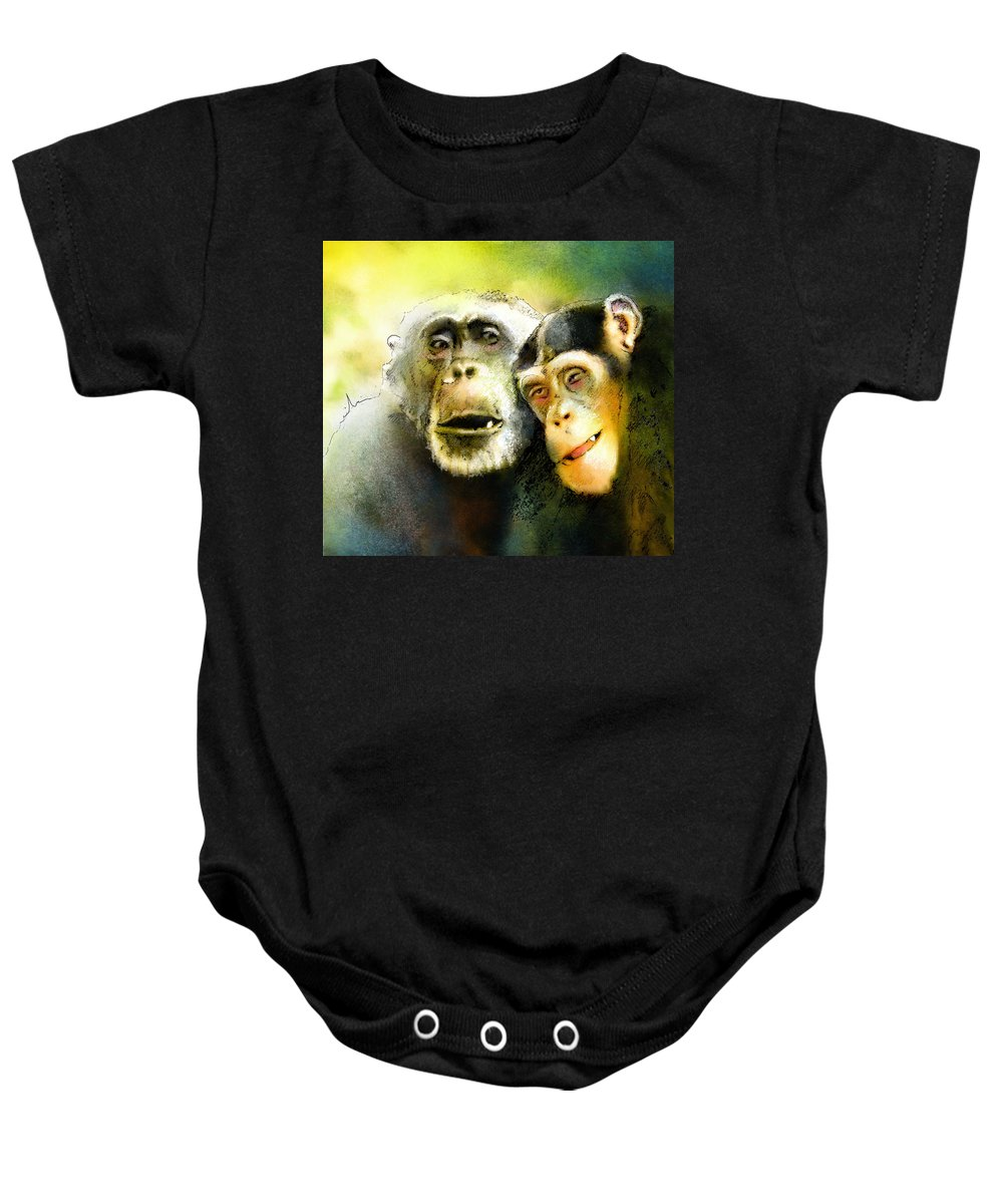 Animals Baby Onesie featuring the painting Growing Old Together by Miki De Goodaboom