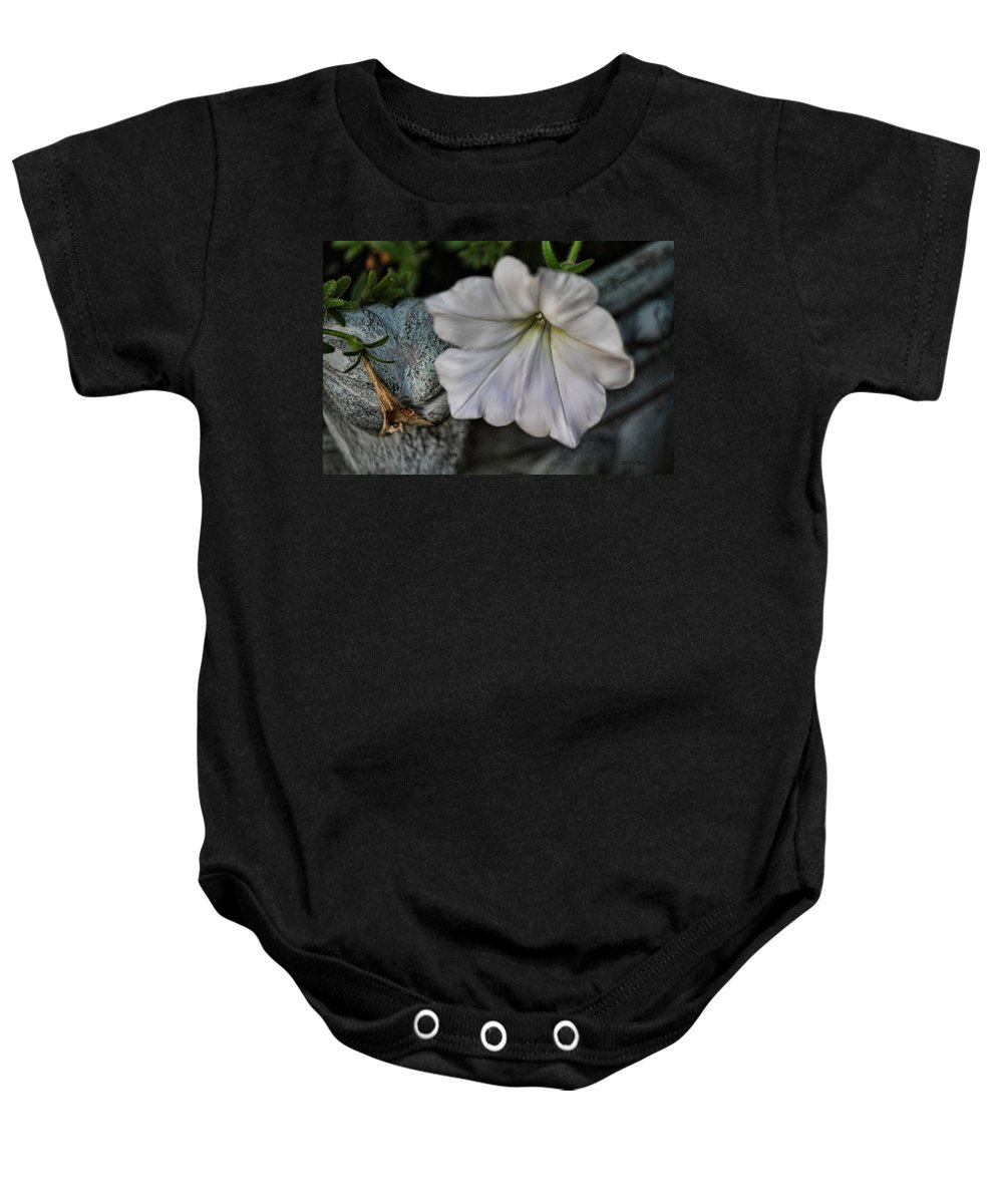 Petunia Baby Onesie featuring the photograph Grundgy Petunia by Bonnie Willis