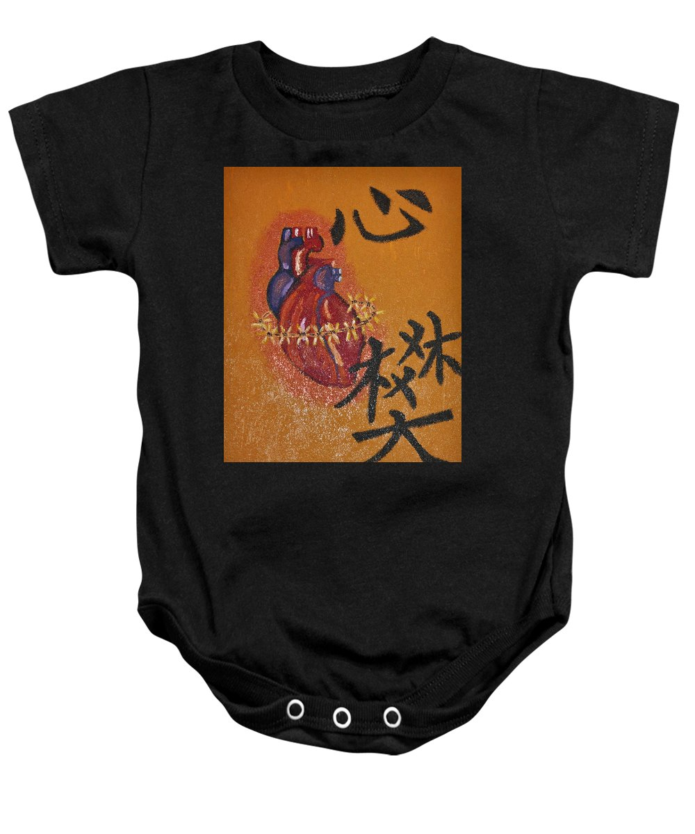Painting Baby Onesie featuring the painting Guadalupe Heart by Catherine Conroy