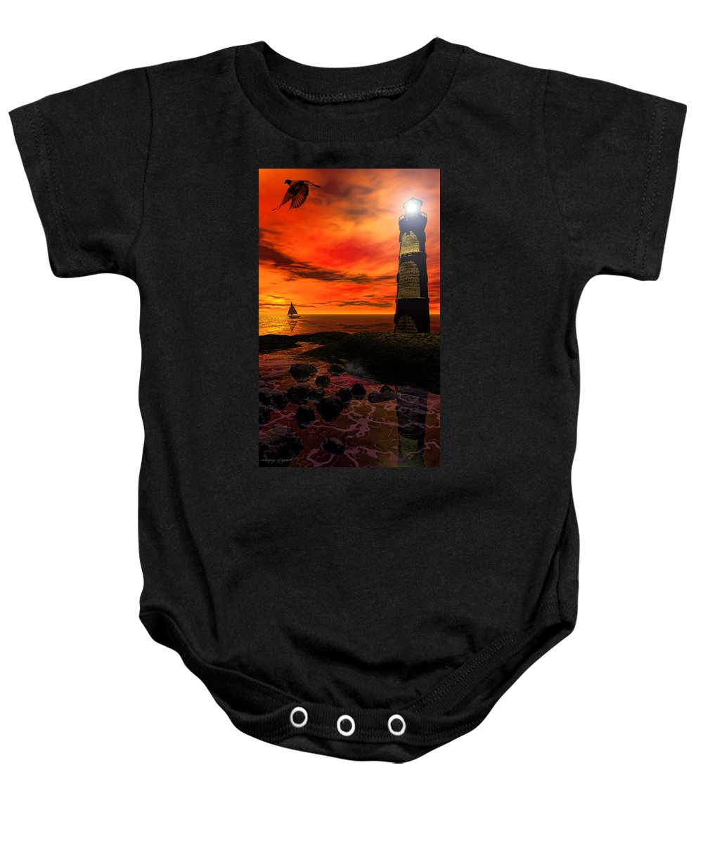 Lighthouse Baby Onesie featuring the photograph Guiding Light - Lighthouse Art by Lourry Legarde