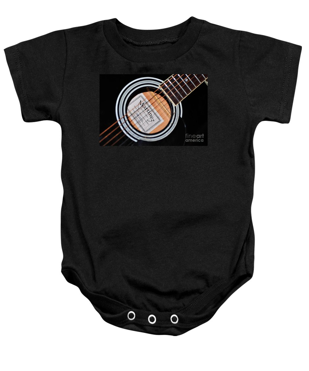 Photography Baby Onesie featuring the photograph Guitar Abstract 1 by Kaye Menner