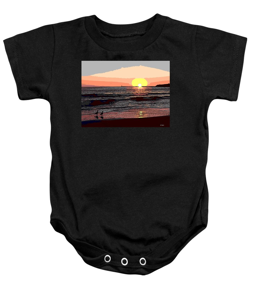 Seagulls Baby Onesie featuring the photograph Gulls Enjoying Beach At Sunset by George Pedro