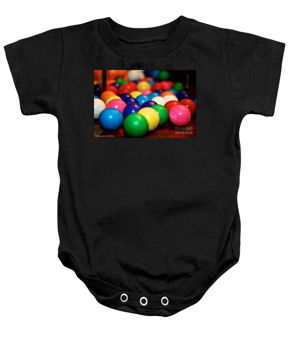 Food Baby Onesie featuring the photograph Gum Ball Gang Breakout by Susan Herber