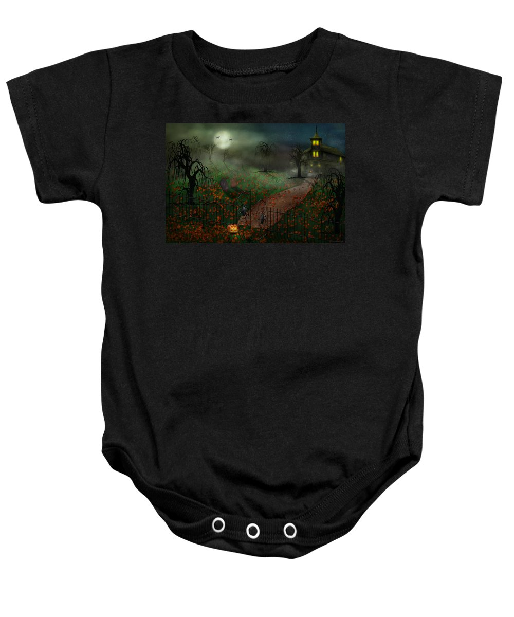 Hallows Baby Onesie featuring the photograph Halloween - One Hallows Eve by Mike Savad