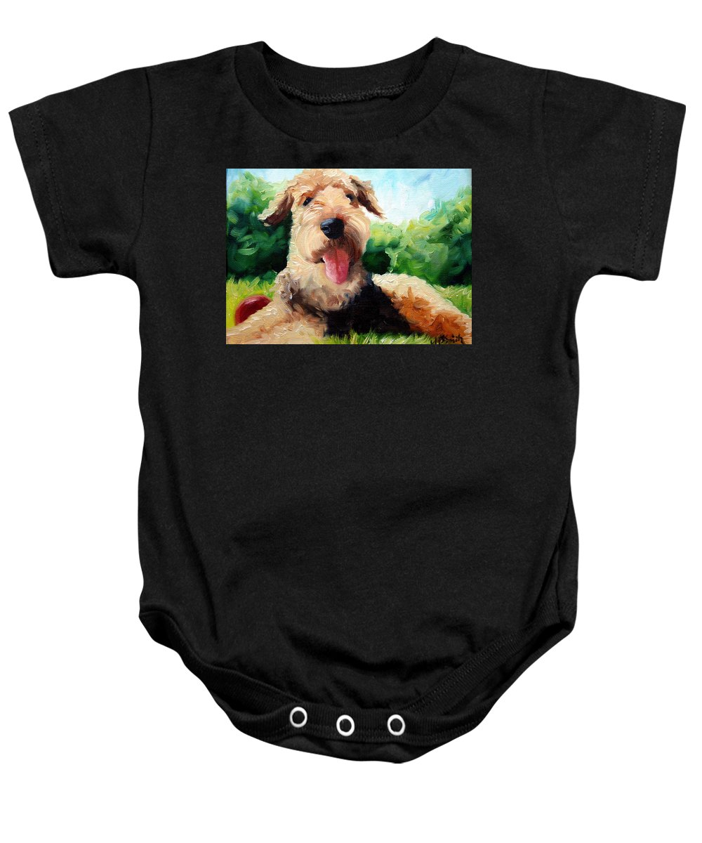 Art Baby Onesie featuring the painting Happy Dale by Mary Sparrow