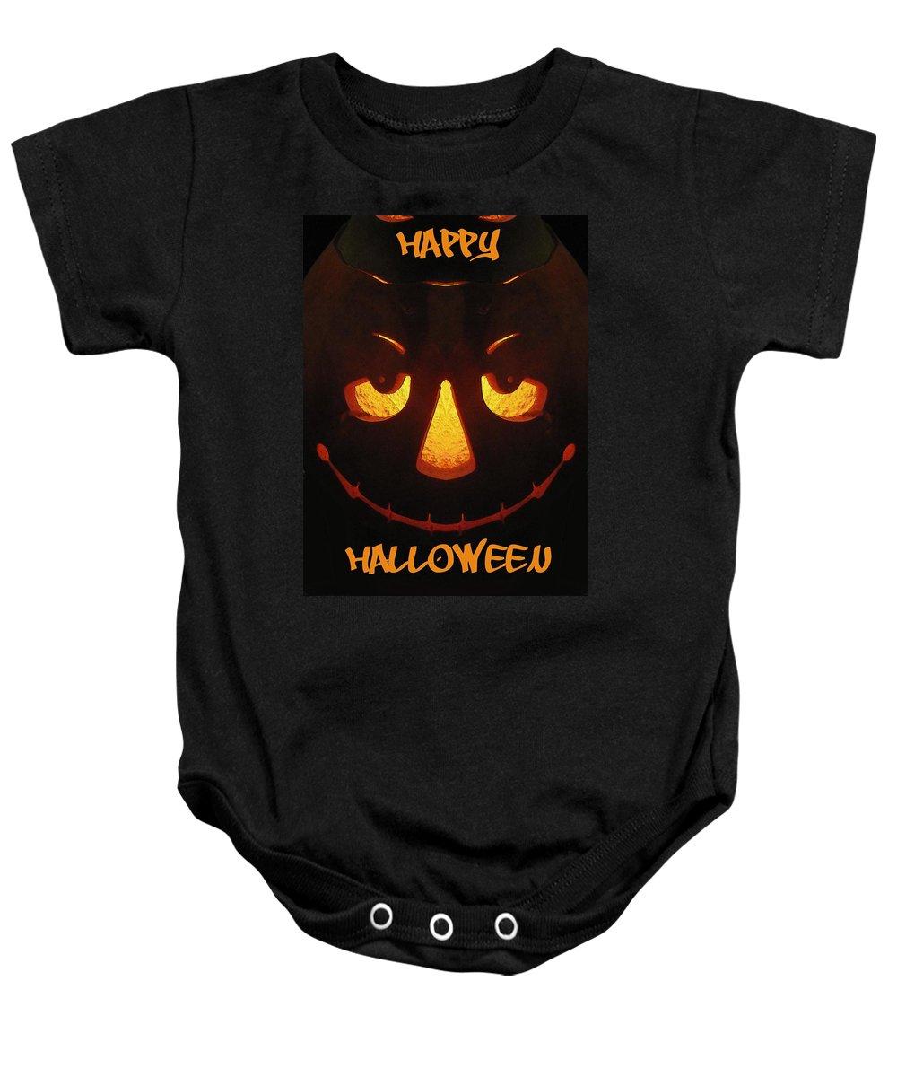 Halloween Baby Onesie featuring the digital art Happy Halloween by Tim Allen