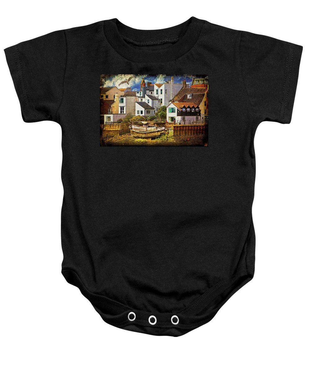 Harbor Baby Onesie featuring the photograph Harbor Houses by Chris Lord