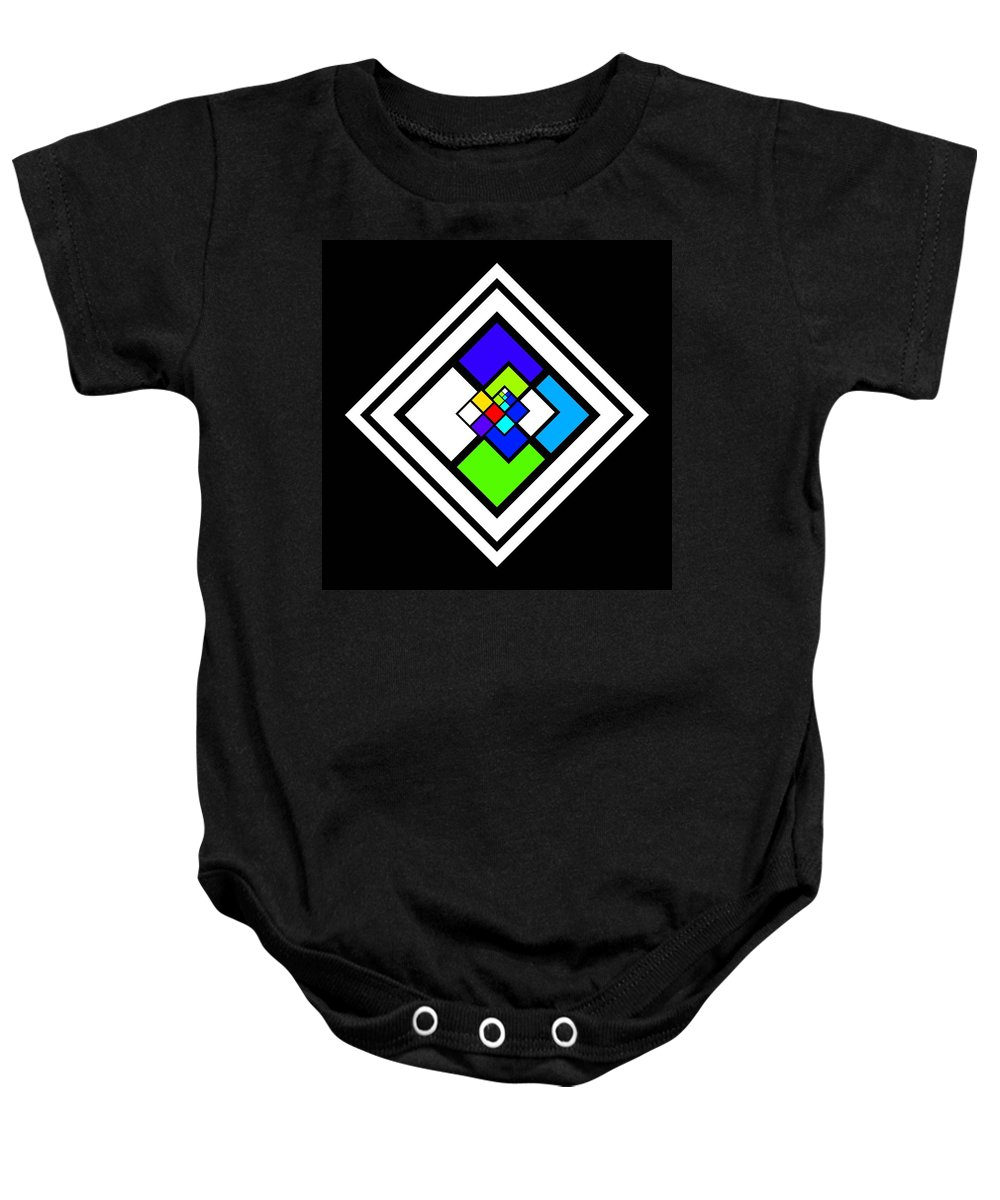 Cote Baby Onesie featuring the painting Harlequin Tile by Charles Stuart