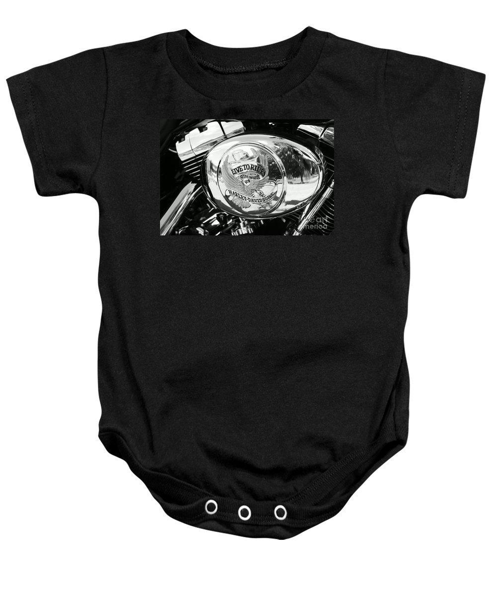 Harley Baby Onesie featuring the photograph Harley Davidson Bike - Chrome Parts 22 by Aimelle