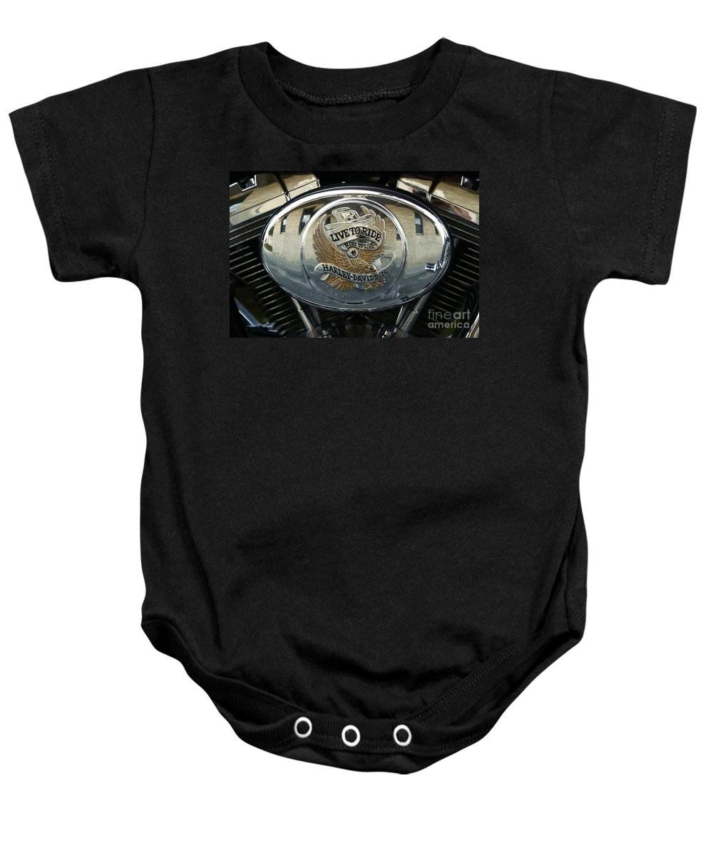Harley Davidson Baby Onesie featuring the photograph Harley Davidson Bike - Chrome Parts 44c by Aimelle