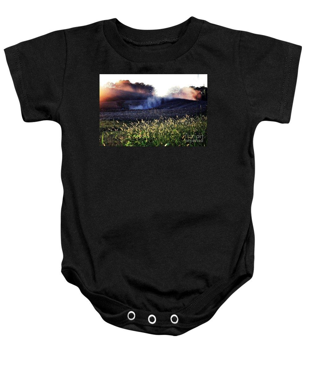 Harvest Baby Onesie featuring the photograph Harvesting by Melanie Kirdasi