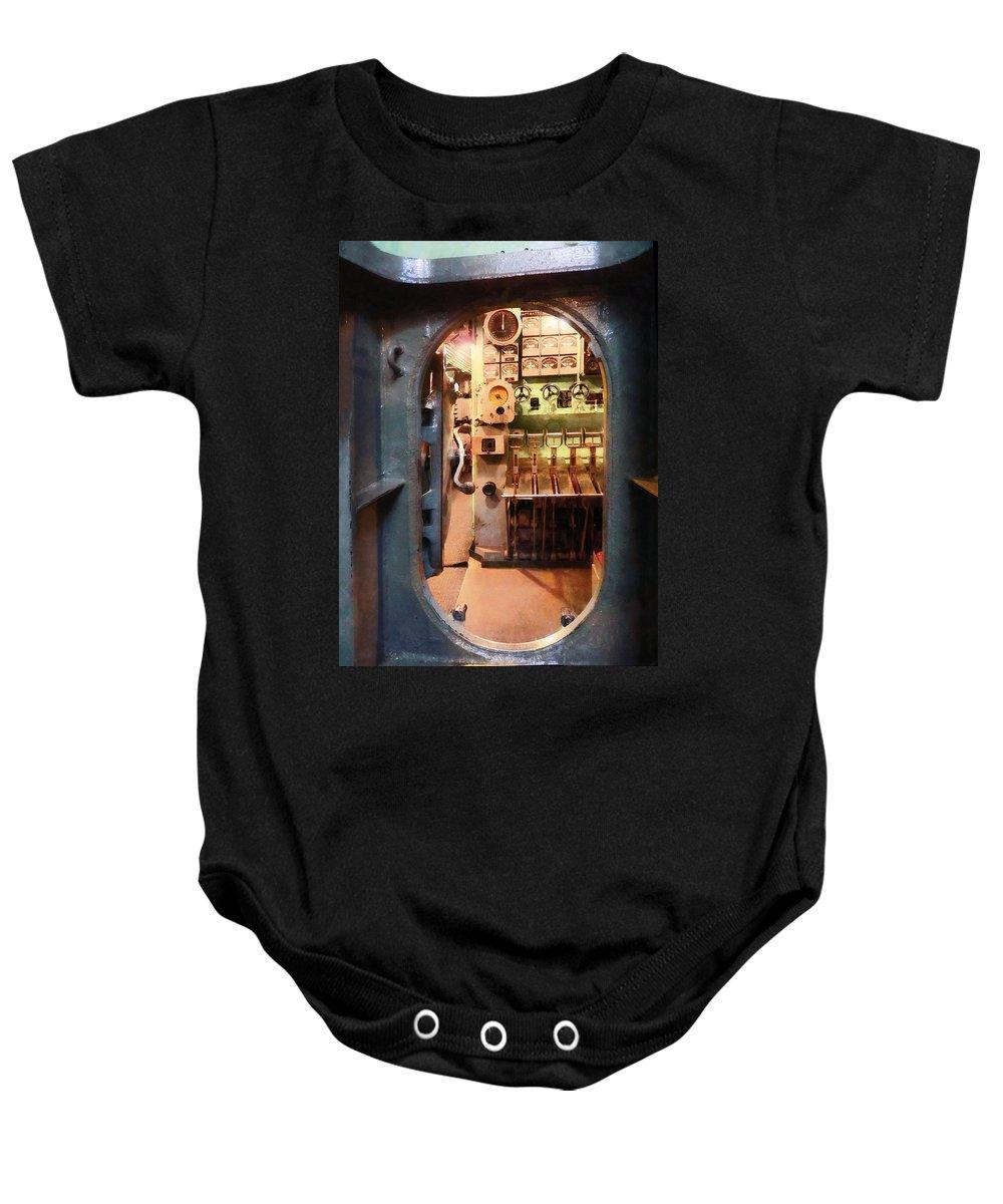 Hatch Baby Onesie featuring the photograph Hatch In Submarine by Susan Savad