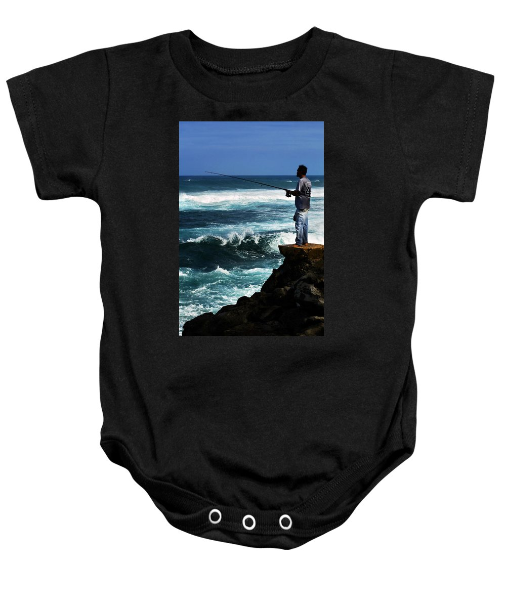Fish Baby Onesie featuring the photograph Hawaiian Fisherman by Marilyn Hunt
