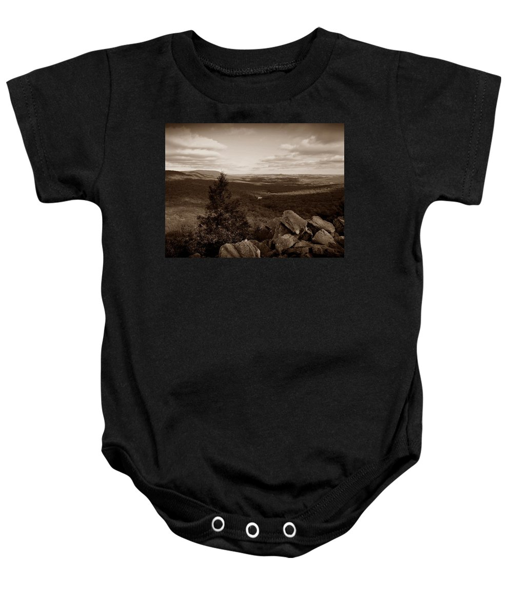 Hawk Mountain Baby Onesie featuring the photograph Hawk Mountain Sanctuary S by David Dehner