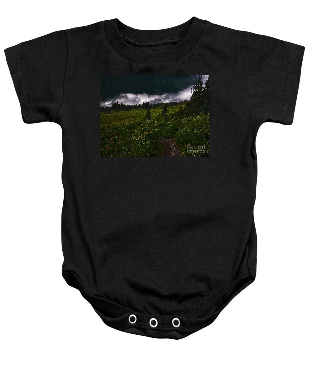 Meadow Baby Onesie featuring the painting Heading Home Through The Meadow by RC DeWinter