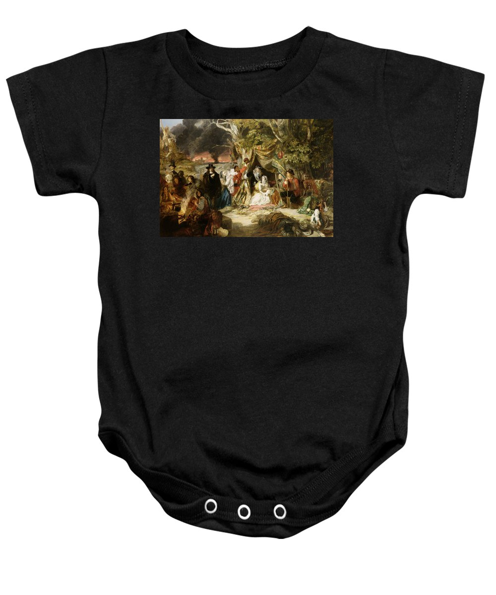 Highgate Fields During The Great Fire Of London In 1666 Baby Onesie featuring the painting Highgate Fields During The Great Fire Of London In 1666 by Edward Matthew Ward
