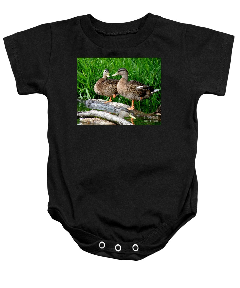 Ducks Baby Onesie featuring the photograph Hokey-pokey by Lainie Wrightson