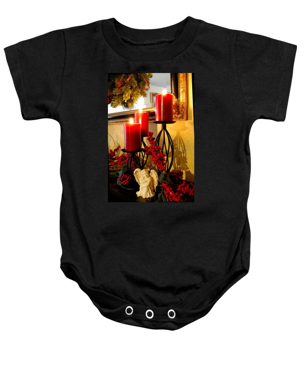Christmas Baby Onesie featuring the photograph Holiday Candles Hcp by Jim Brage